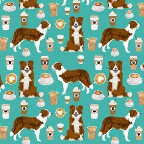 Border Collie  coffee (smaller scale) cafe dog fabric pet dog breeds collies turquoise