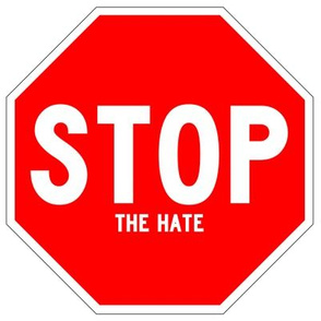 4 red white road signs traffic signs Graffiti vandalism vandalize pop art stop the hate wars fighting fights strong message peace pop culture end stop discrimination prejudice