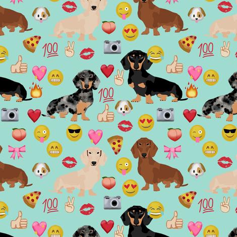dachshund emoji funny emojis doxie dog breed fabric mint fabric by petfriendly on Spoonflower - custom fabric