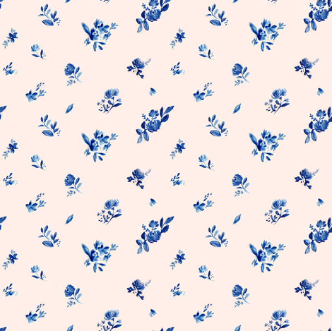 Indigo Cute Fleur on Pink fabric by angiemakes on Spoonflower - custom fabric
