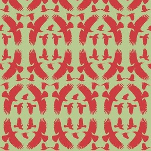 Circle of Crows (Orange-Red on Green)
