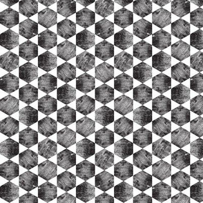 Black and White Hexagonal Block Print