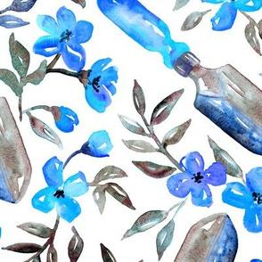 Spring Gardening - indigo & aqua blossoms on white