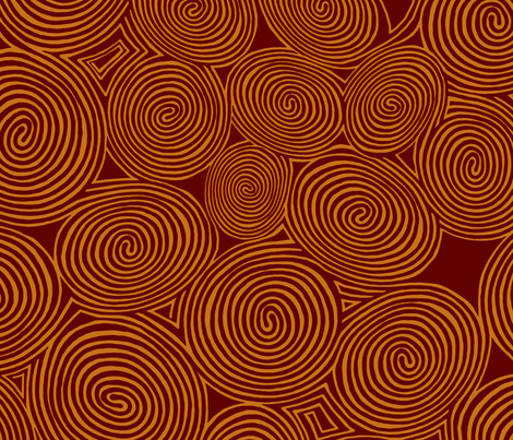 spirals-pumpkin-dk fabric by wren_leyland on Spoonflower - custom fabric