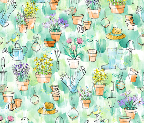 Birds in the Garden - © Lucinda Wei fabric by lucindawei on Spoonflower - custom fabric