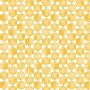Hand Printed Mustard Yellow Hexagonal Print