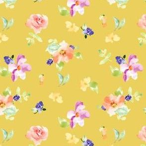 Kara Watercolour Floral Spaced Yellow