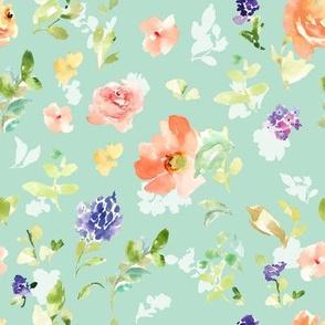 Kara Cutie Watercolour Floral Blue Shadow