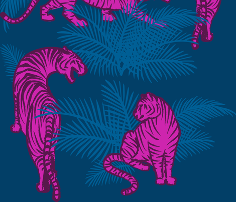 Jungle Tigers bright fabric by 2birdstone on Spoonflower - custom fabric