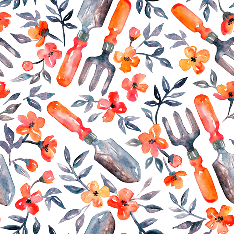 Spring Gardening - tangerine orange blossoms on white - small fabric by micklyn on Spoonflower - custom fabric