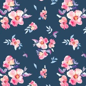 Perry Spaced Watercolour Floral on Navy