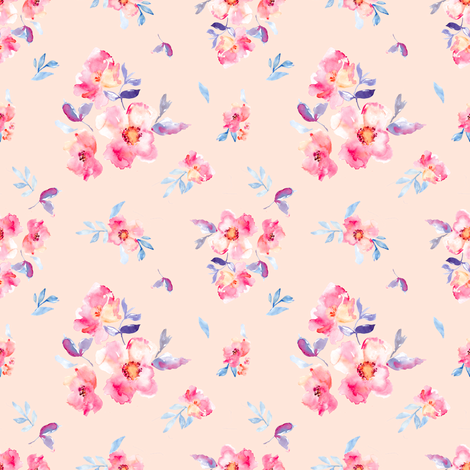 Perry Watercolour Peony Pink fabric by angiemakes on Spoonflower - custom fabric