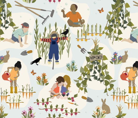 Kids Only - Gardening fabric by fernlesliestudio on Spoonflower - custom fabric