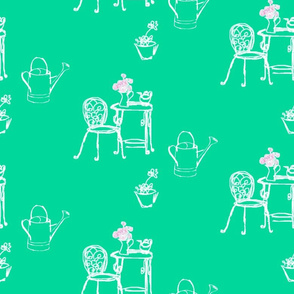 gardening, on pea green//hand drawn retro fabric, fresh, garden