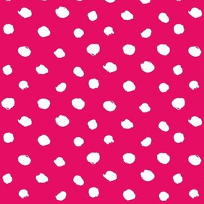 hand painted polka dots - crimson and white