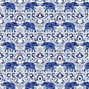 Elelphant Damask Watercolor Dark Blue