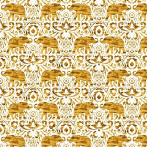 Elephant Damask Watercolor Gold