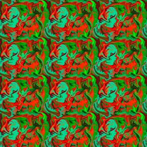 BN9 - Abstract Marbled Mystery  in Greens - Turquoise - Orange - Maroon - Small
