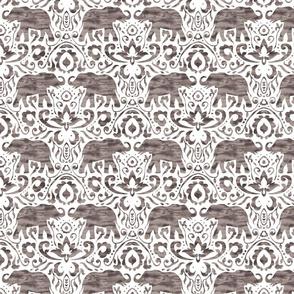 Elephant Damask Watercolor Greige