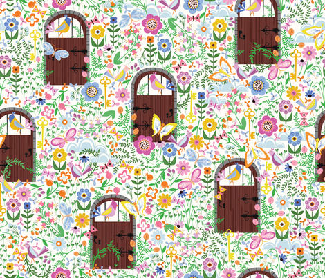 Morning in the Secret Garden fabric by oliveandruby on Spoonflower - custom fabric