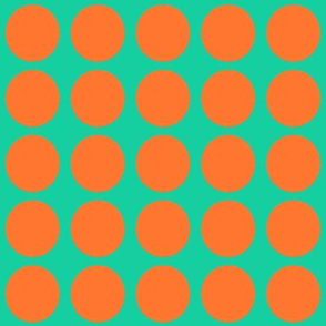 Orange Dots on Greenish Blue Medium - Spring Dots
