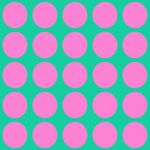 Purple Dots on Greenish Blue Medium - Spring Dots