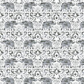 Elephant Damask Watercolor Grey