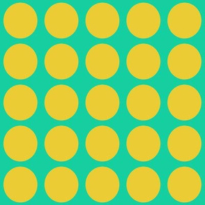 Yellow Dots on Greenish Blue Medium - Spring Dots