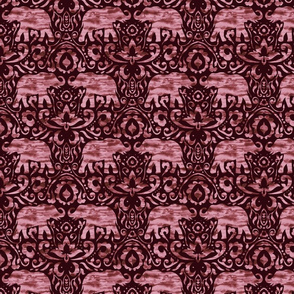 Elephant Damask Watercolor Burgundy