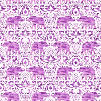 Elephant Damask Watercolor Pink Purple