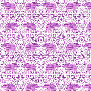 Elephant Damask Watercolor Pink Purple