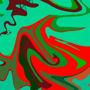 BN9 -  Abstract Marbled Mystery  in  Greens - Turquoise - Orange - Maroon - Large Scale