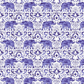 Elephant Damask Watercolor Purple