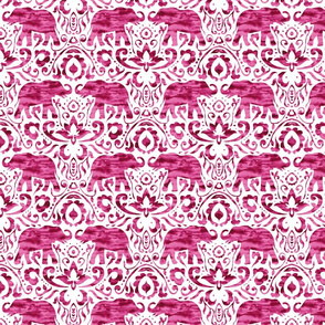 Elephant Damask Watercolor Raspberry