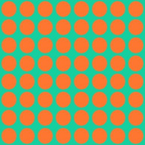 Orange Dots on Greenish Blue Small - Spring Dots