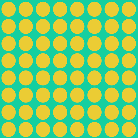 Yellow Dots on Greenish Blue Small - Spring Dots fabric by pumpkintreelane on Spoonflower - custom fabric