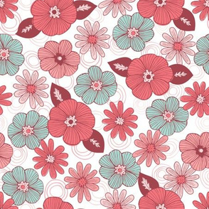 Pink and Teal whimsical floral with linework