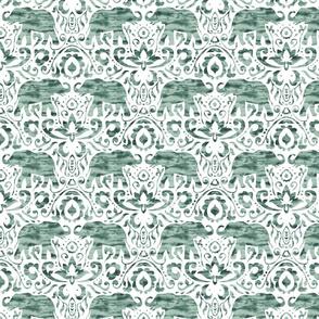 Elephant Damask Watercolor Natural Green