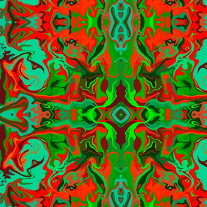 BN9 LG Marbled Mystery Tapestry in red, orange, greens and turquoise