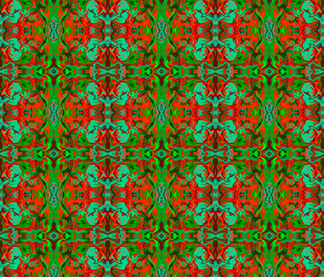 BN9 - Abstract Marbled Mystery Tapestry in  Greens - Turquoise - Maroon - Orange fabric by maryyx on Spoonflower - custom fabric