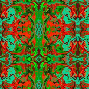BN9 - Abstract Marbled Mystery Tapestry in  Greens - Turquoise - Maroon - Orange