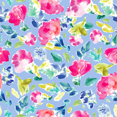 Nabby Tropical Florals on Blue fabric by angiemakes on Spoonflower - custom fabric