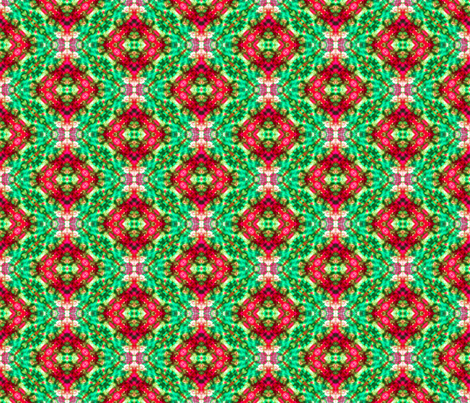 Diamond Cosmos in Green & Red fabric by just_meewowy_design on Spoonflower - custom fabric