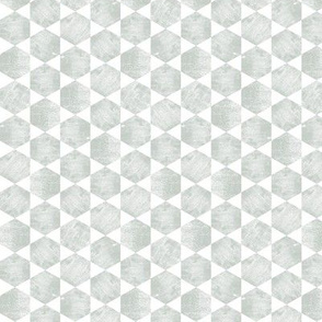 Minimal Gray Green  Hexagon Tiled Print