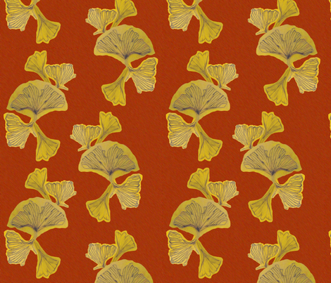 Fall Ginko Large fabric by qideaz on Spoonflower - custom fabric