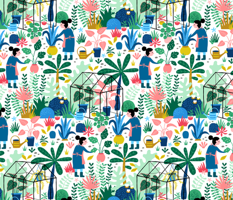 Greenhouse colorful garden fabric by heleen_vd_thillart on Spoonflower - custom fabric