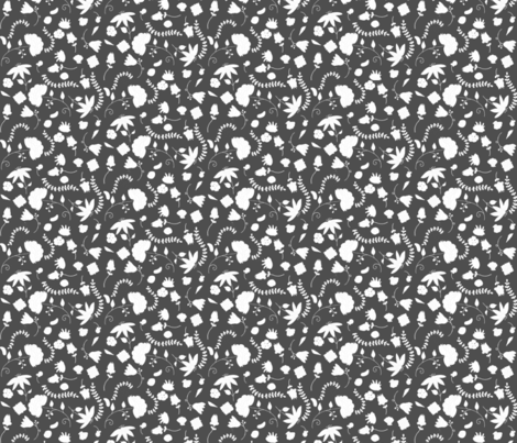 Seaside Garden Silhouette in Gray fabric by chipper_and_perk on Spoonflower - custom fabric