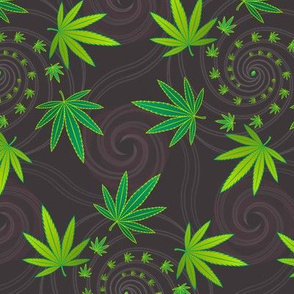 ★ SPIRALING WEED with SEED ★ Green & Dark Gray - Large Scale/ Collection : Cannabis Factory 2 – Marijuana, Ganja, Pot, Hemp and other weeds prints