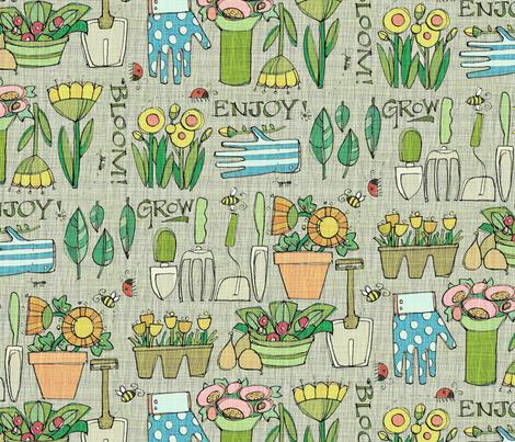 Heart of a Gardener_Gray Lg fabric by robinpickens on Spoonflower - custom fabric