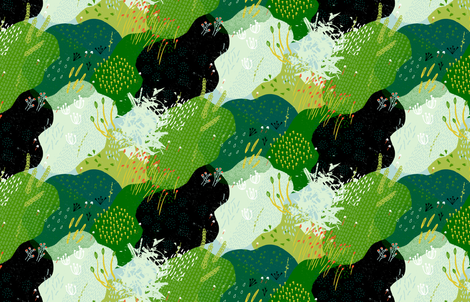 Moss Garden M+M Greens by Friztin fabric by friztin on Spoonflower - custom fabric